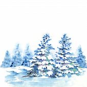 Winter Forest Landscape With Fir Trees Under Snow. Watercolor Illustration For Greeting Cards. poster