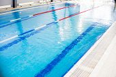 Indoor Swimming Pool, Healthy Concept.swiming Pool For Competition.pool With Swim Lanes. Sport And E poster