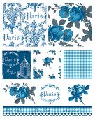 Pretty Parisian Themed Floral Vector Seamless Patterns and icons.  Great for textile projects or dig