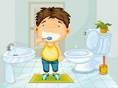 Junge putzen Zähne im Badezimmer
