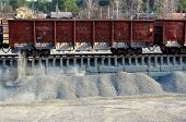 Work With Bulk Cargo. Unloading Of Crushed Stone A Railway Car Of A Dump Truck, Closeup.  Unloading poster