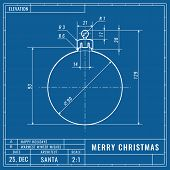 Christmas Ball As Technical Blueprint Drawing. Christmas Technical Concept. Mechanical Engineering D poster