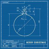 Christmas Ball As Technical Blueprint Drawing. Christmas Technical Concept. Mechanical Engineering D poster