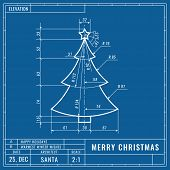 Christmas Tree As Technical Blueprint Drawing. Christmas Technical Concept. Mechanical Engineering D poster