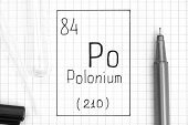 The Periodic Table Of Elements. Handwriting Chemical Element Polonium Po With Black Pen, Test Tube A poster