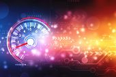 Speed Motion Background With Fast Speedometer Car. Racing Velocity Background, Digital Abstract Tech poster