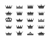 Set Of Crown Icons. Collection Of Crown Awards For Winners, Champions, Leadership. Vector Isolated E poster