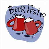 Beer Fest Logo. Two Hand Drawn Beer Mugs With Beer Fest Hand Lettering. Isolated Design Elements poster