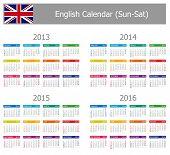 2013 - 2016 Tipo 1 Inglês Calendar sol-Sat