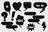 Comic Text Speech Bubble Pop Art Style. Set Of Black Cloud Talk Speech Bubble. Isolated Black Speech poster