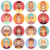 Cartoon Avatars. People Of Different Sexes, Ages And Races. Face Avatars Of Multicultural Characters poster