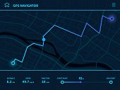Route Dashboard. Futuristic Route Ui, Gps Tracking Map Navigator With City Street, Mobile Interface  poster