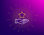 Loyalty Program Line Icon. Halftone Pattern. Bonus Points. Discount Star Symbol. Gradient Background poster