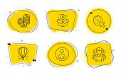 Timer, Coins And Group Signs. Chat Bubbles. Post Package, Avatar And Air Balloon Line Icons Set. Pos poster