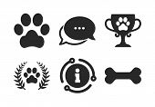 Dog Paw Sign. Chat, Info Sign. Pets Icons. Winner Laurel Wreath And Cup Symbol. Pets Food. Classic S poster