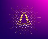 Christmas Tree Present Line Icon. Halftone Pattern. New Year Spruce Sign. Fir-tree Symbol. Gradient  poster