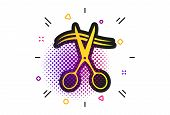 Scissors Cut Hair Sign Icon. Halftone Dots Pattern. Hairdresser Or Barbershop Symbol. Classic Flat S poster