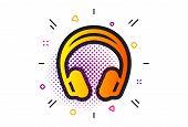 Music Listening Device Sign. Halftone Circles Pattern. Headphones Icon. Dj Or Audio Symbol. Classic  poster