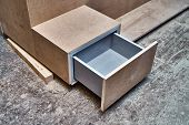 Nightstand Building Process. Nightstand With Open Drawer. Wooden Furniture Manufacturing Process. Fu poster