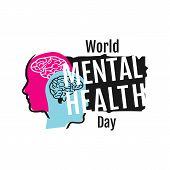 Colorful Design World Mental Health Day Vector Illustration Banner Background Template poster