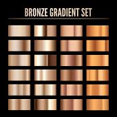 Bronze Metal Realistic Gradient. Collection Of Colorful Bronze Palette. Shine Metallic Material Temp poster