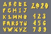 English Alphabet  And Numbers In The Shape Of Cheese. Drawn By Hand. A Few Zeros For Ease Of Writing poster