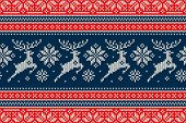 Winter Holiday Knitting Pattern With Christmas Reindeer And Snowflakes. Scheme For Wool Knit Christm poster