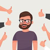 Cheerful Hipster Bearded Young Man Surrounded By Hands Demonstrating Thumbs Up Gesture. Public Appre poster