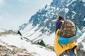 Traveling Girl With Backpack Hiking In The Mountains, Freedom Concept. Hiking People On Asia. Beauti poster
