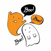 Flying Ghost Spirit Holding Says Boo. Happy Halloween. Scary White Ghosts. Cute Cartoon Spooky Chara poster