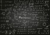 Physics Formulas Drawn By Hand On A Black Chalkboard For The Background. Vector Illustration. poster