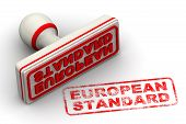European Standard. Seal And Imprint. The Stamp And Red Imprint European Standard On White Surface. I poster