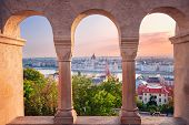 Budapest, Hungary. Cityscape Image Of Budapest With Parliament Building During Summer Sunrise. poster