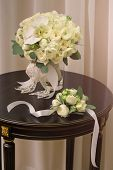 Beautiful Wedding Bouquet Of White Flowers. Spring Flower Bouquet. Beautiful Fresh Bouquet Is On The poster