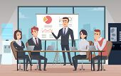 Meeting Office Interior. Business Conference Room With People Managers Working Team Vector Cartoon I poster