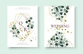 Wedding Invitation Card With Silver Dollar Eucalyptus Greenery Leaves Floral Branches Golden Geometr poster