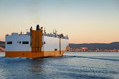 Large Roro Ship Or Oceangoing Vehicle Carrier Ship Sailing In The Sea. poster