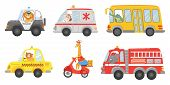 Cartoon Animal Driver. Animals In Emergency Ambulance, Firetruck And Police Car. Zoo Taxi, Public Bu poster