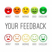 Feedback Emotion Icons. Colour Emotions Signs, Cartoon Emotional Faces For Communication And Support poster
