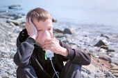 Portrait Sick 8y Child Boy Uses Nebulizer Sits On Seaside. Inhaling Inhaler Mask. Fibrosis Cystic Co poster