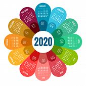Colorful Round Calendar 2020 Design, Print Template, Your Logo And Text. Week Starts Sunday. Portrai poster