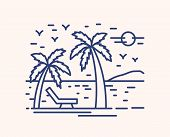 Seaside Resort Vacation Vector Lineart Illustration. Linear Palm Trees On Beach With Deckchair. Summ poster