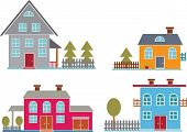 4 cute family houses - vector set # 23