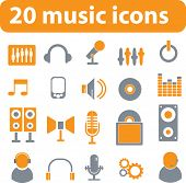 20 music vector icons - orange series
