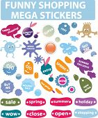 funny shopping mega stickers. vector.