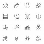 Baby Line Icons Set. Linear Style Symbols Collection, Outline Signs Pack. Vector Graphics. Set Inclu poster