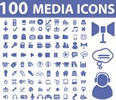 100 media icons. vector