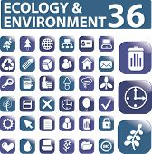 36 ecology & environment buttons. vector