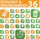 36 ecology buttons. vector