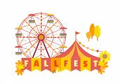 Hand Drawn Fall Fest Entertainment Flat Color Vector Icon. Fall Fair Event Design Element. Autumn Fe poster